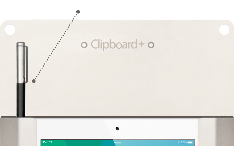 Stylus holder on Clipboard